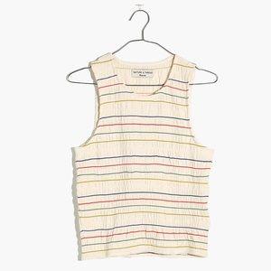 Texture & Thread Rainbow-Stitch Smocked Tank Top